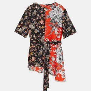 NWOT Zara Woman Printed Colorblock Top